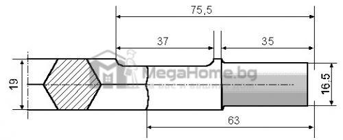 Шило с 6-стен опашка 19 х 400 мм