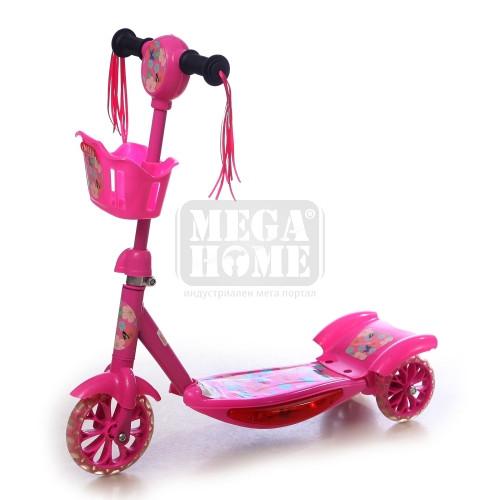 Тротинетка с 3 колела Maxima светеща и музикална в розово