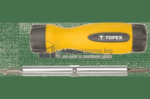 Отвертка Topex с четири накрайника, прави и кръстати
